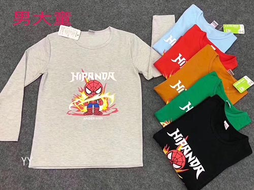 钻龙地摊:儿童男童、女童全棉T恤--长袖,秋季儿童T恤货源