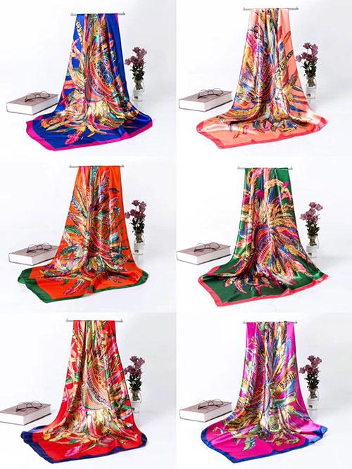 上海故事系列仿真丝方巾,户外防晒民族风多用沙滩巾,摆地摊围巾货源