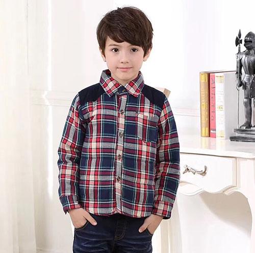 男童加厚格子衬衫,冬季棉袄,4-10岁男童装上衣-义乌地摊网