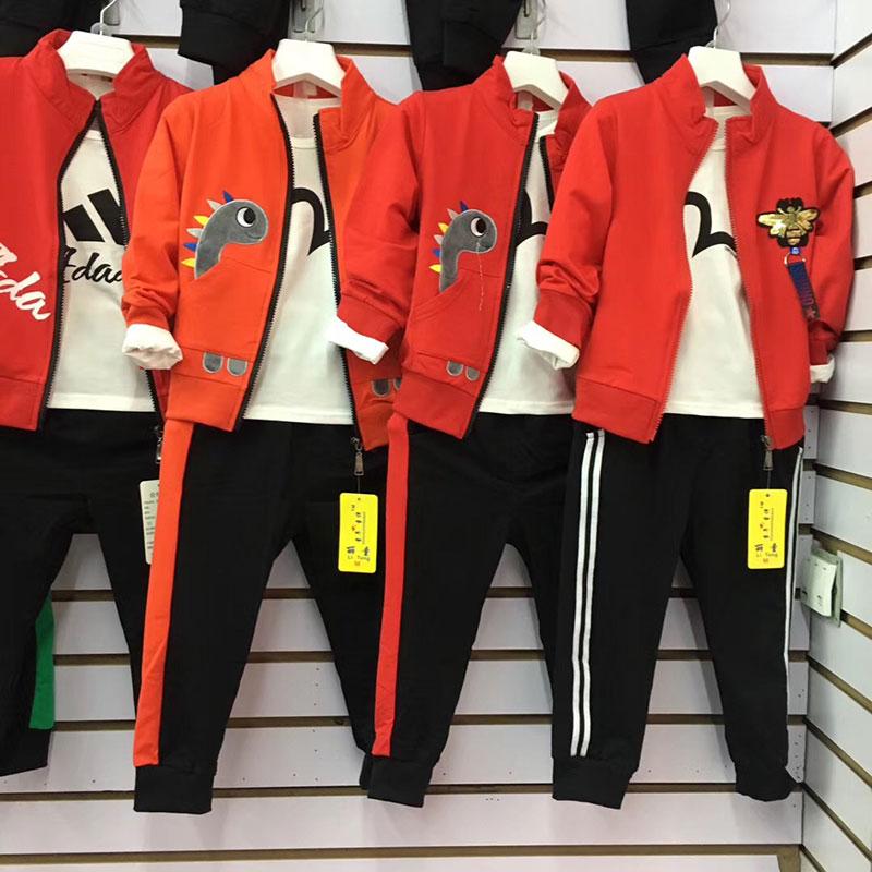 儿童阳光精品纯棉拉链套装(三件套),3-8岁儿童服装货源批发