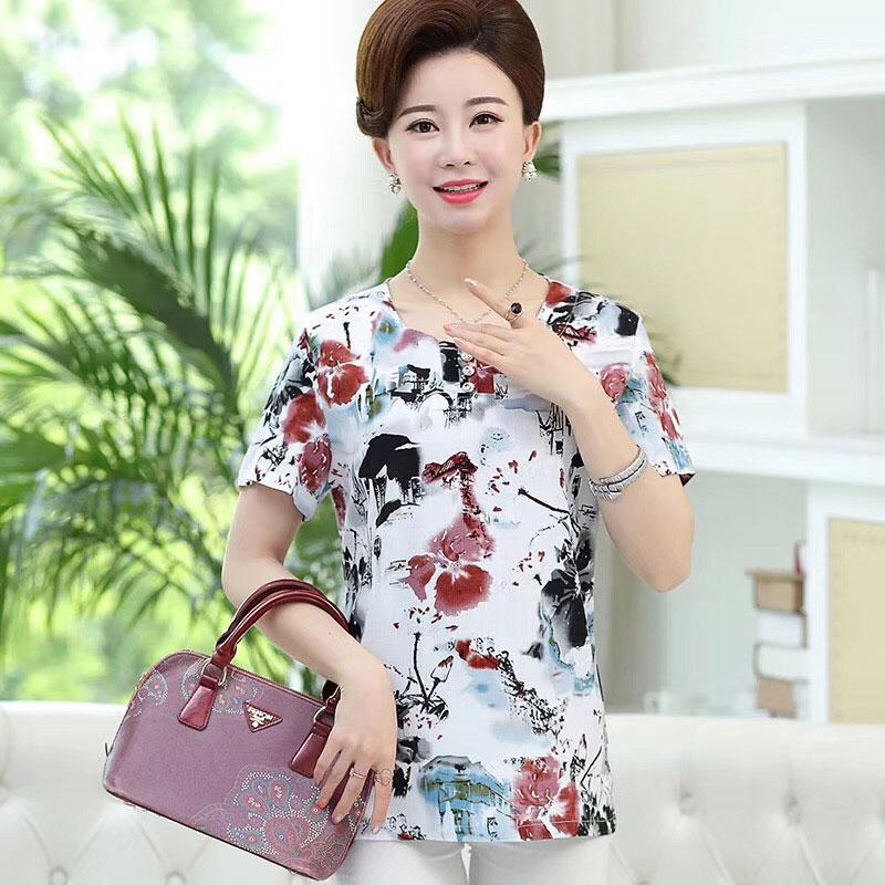 精品时尚竹节棉妈妈装,夏季中老年服装货源批发