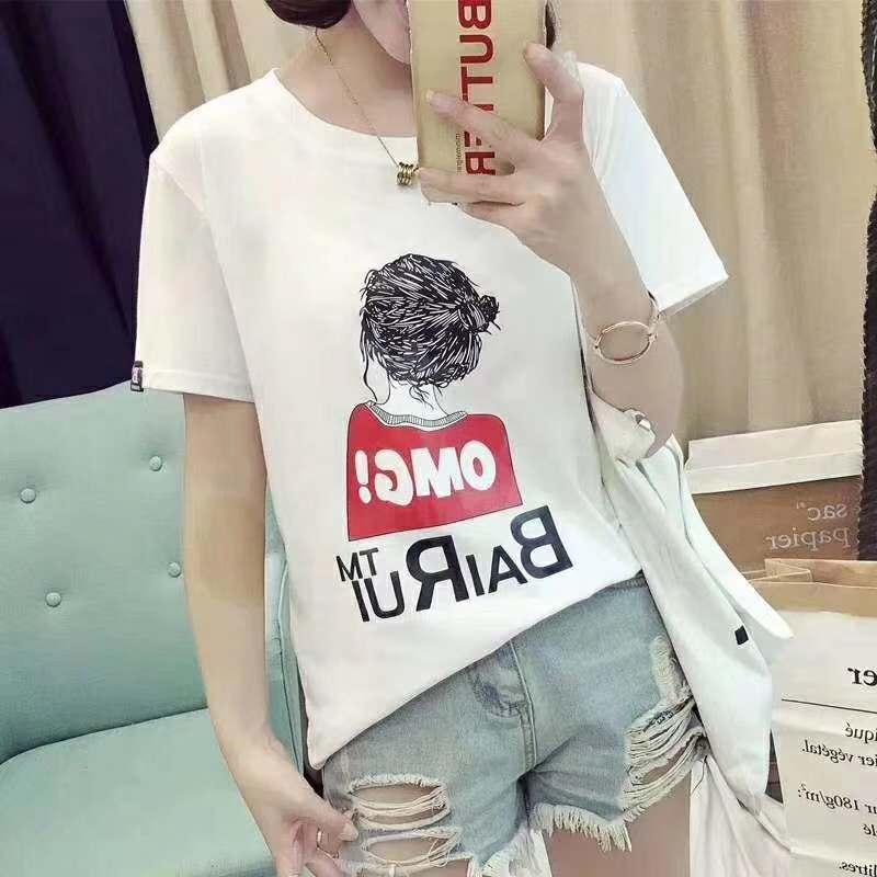 夏季女短袖货源_大版女彩T恤批发_休闲款均码