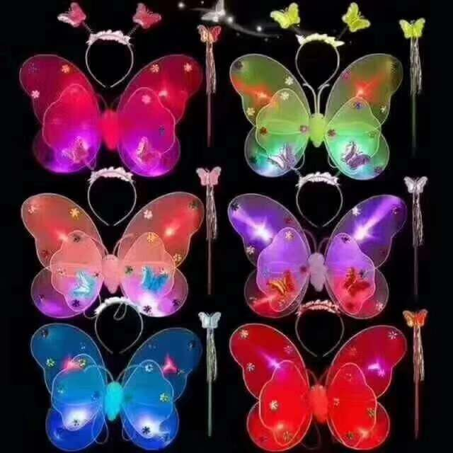 夏季夜市摆摊带灯发光蝴蝶翅膀三件套货源批发_价格