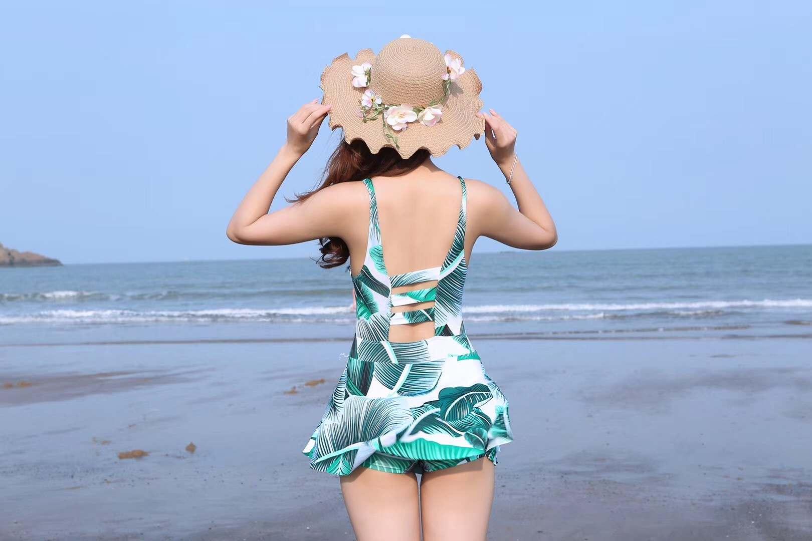 女大码连体裙式大小胸聚拢显瘦保守性感温泉泳装批发