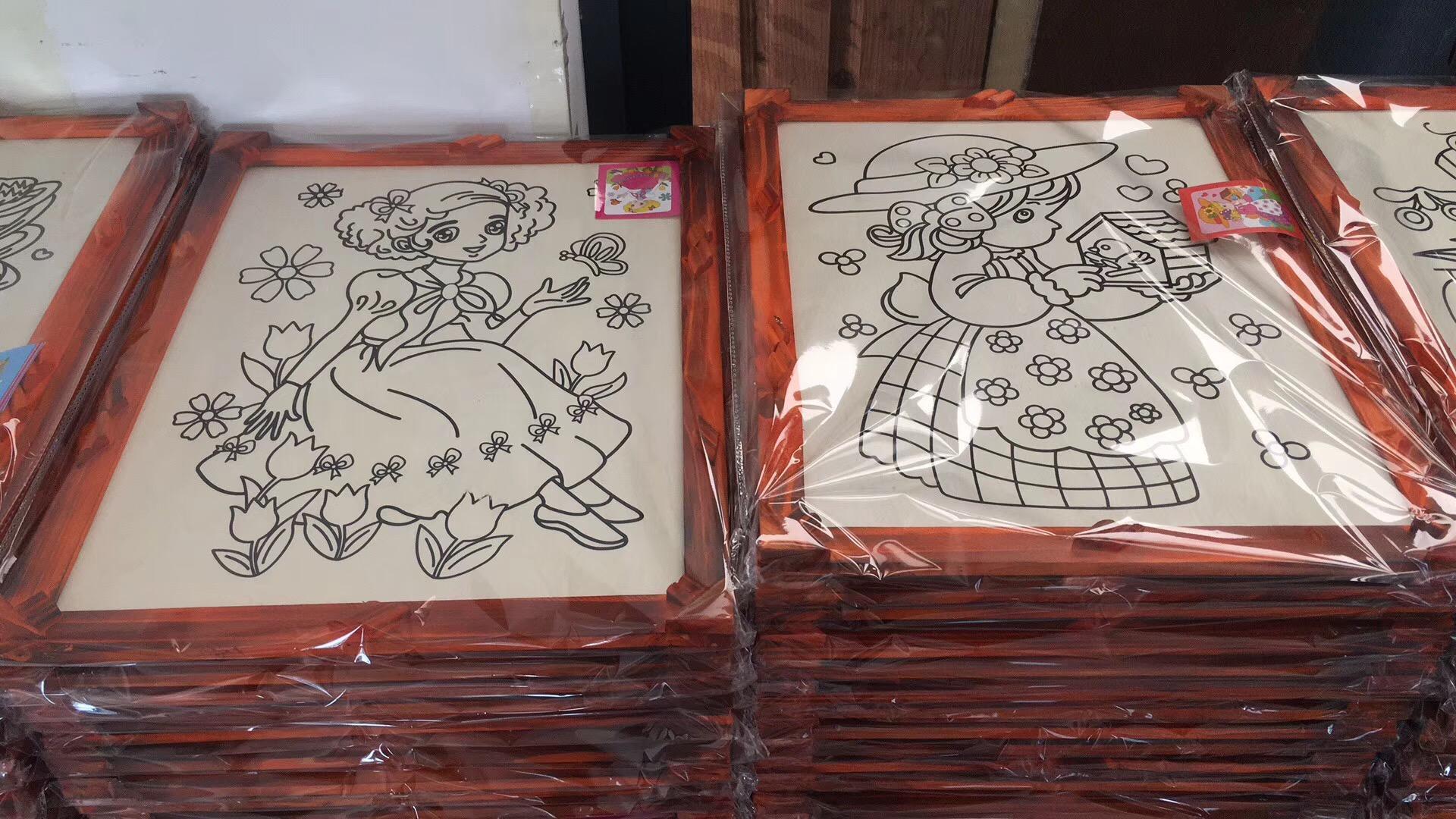 儿童DIY涂鸦绘画木板画画板批发