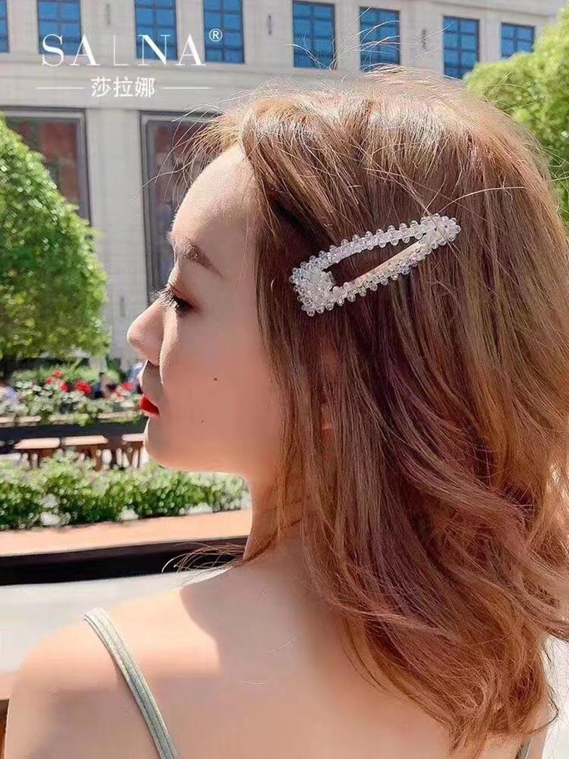 义乌摆地摊东大门珍珠水晶发夹批发 水晶发夹价格 网红淑女仙女优雅发夹