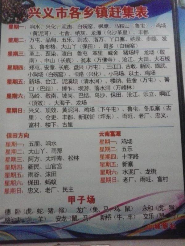贵州省黔西南州各县乡镇赶集周期表 圩日表赶集时间表