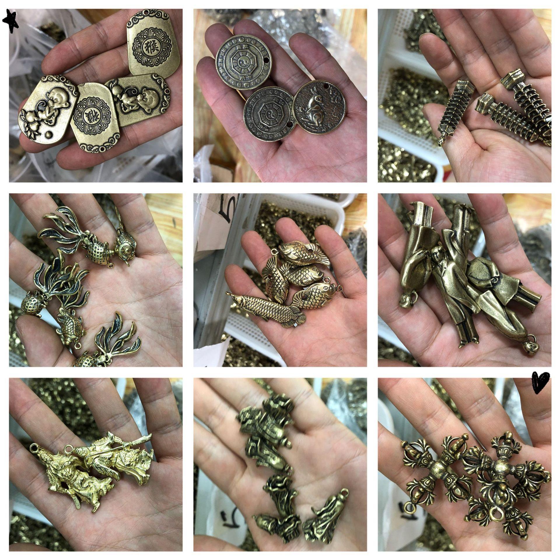 跑江湖地摊云南老铜器批发 仿古纯铜件挂件钥匙扣