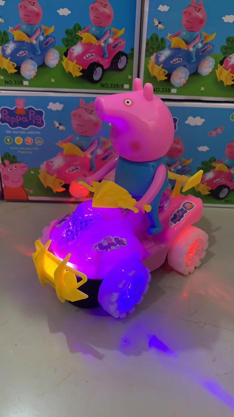 儿童发光玩具车 小猪佩奇摩托车批发